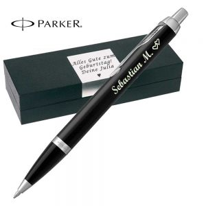 Parker - IM Core Kugelschreiber mit Gravur Mattschwarz C.C. Mine Blau